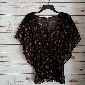 Sequin Hearts Sheer Black Floral Festival Top